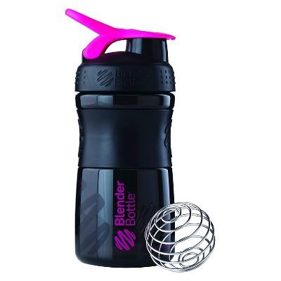 Blender Bottle SportMixer Tritan Grip Bottle 20 oz - Black/Pink