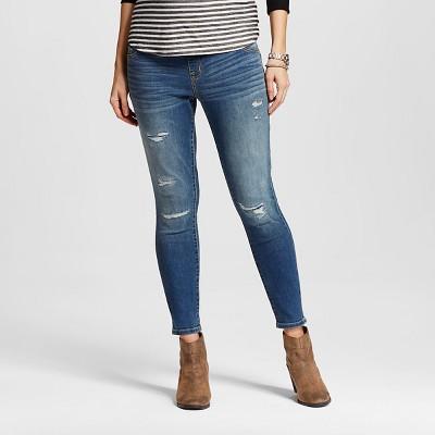Maternity Over the Belly Distressed Ankle Skinny Jean - Medium Wash L - Liz Lange® for Target