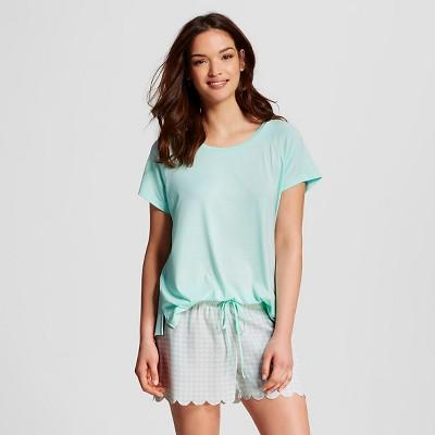 Women's Sleepwear 2-Piece Tee/Shorts Pajama Set Bleached Aqua L - Gilligan & O'Malley®