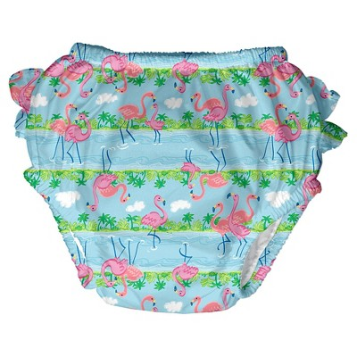Baby Girls' Flamingo Swim  Diaper - Blue XL