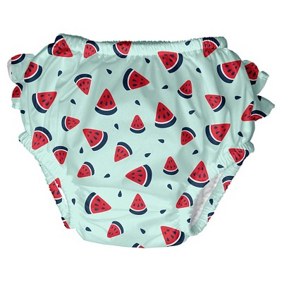 I Play Baby Girls' Watermelon Swim Diaper - Green XL