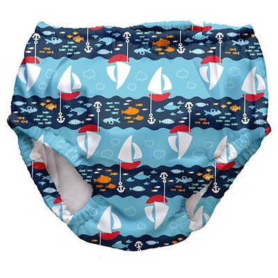 I Play Baby Boys' Sailboat Swim Diaper - Blue S