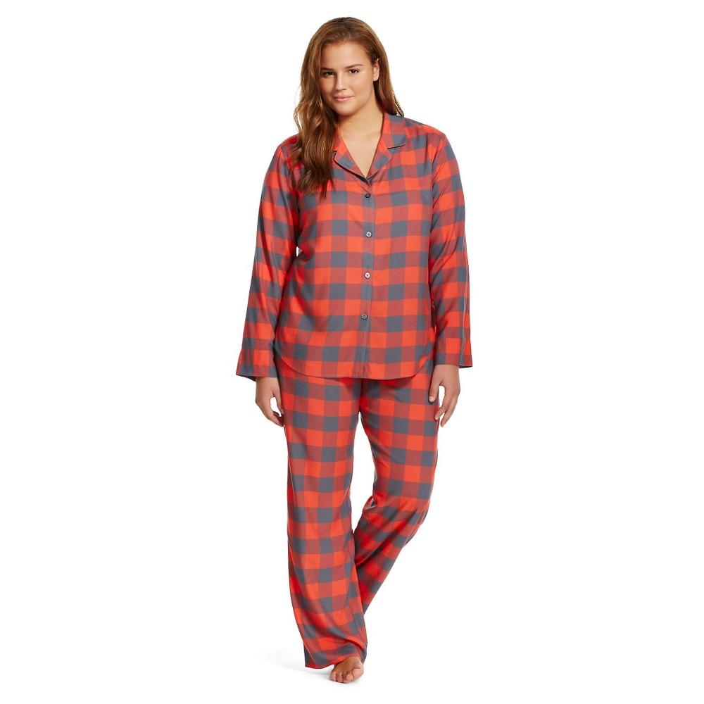 Plus Size Women's Plus Pajama Set Red Buffalo Check - Xhilaration, Iron Gray