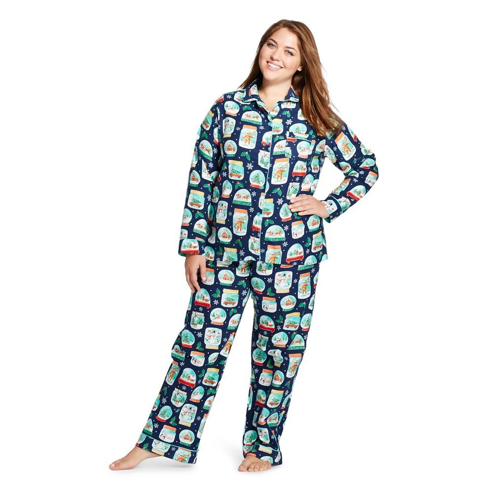 Plus Size Women's Plus Flannel Pajama Set Snowglobes - Nick & Nora, Academy Blue