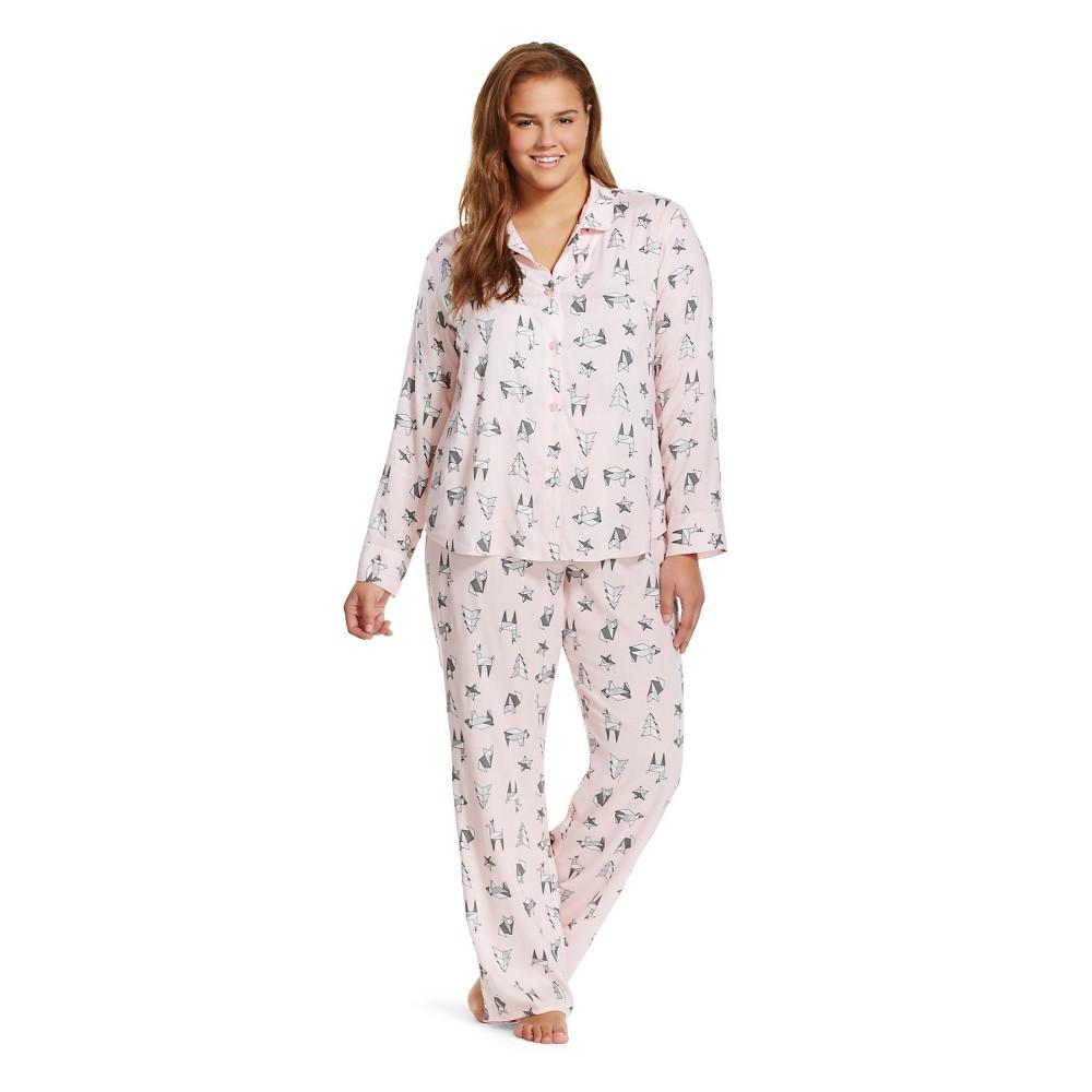 Plus Size Women's Plus Pajama Set Dusk Pink