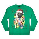 Men's Holiday Fleece Sweatshirt Pug Lights