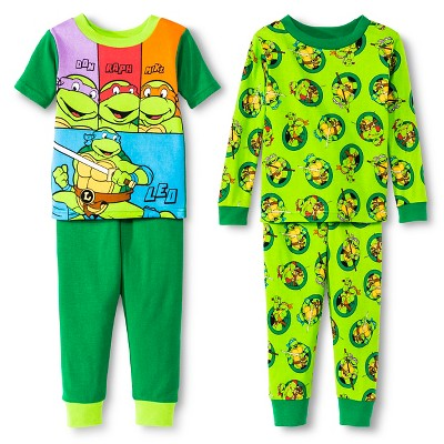 Teenage Mutant Ninja Turtles Toddler Boys' 4-Piece Pajama Set - Green 4T