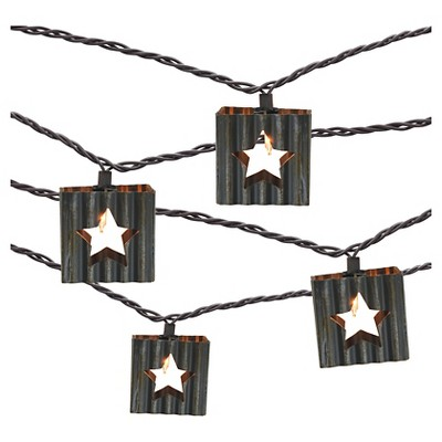 10 count Decorative String Lights - Corrugated Metal Star - Threshold™
