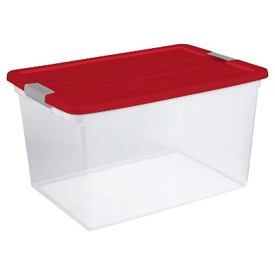 Holiday 66 Qt Plastic Latching Tote - Red