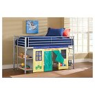 Brayden Junior Loft Bed with Cloth Doors - Silver - Hillsdale Furniture