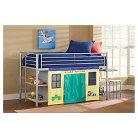Brayden Junior Loft Bed with Cloth Doors, Desk, and Stool - Hillsdale Furniture