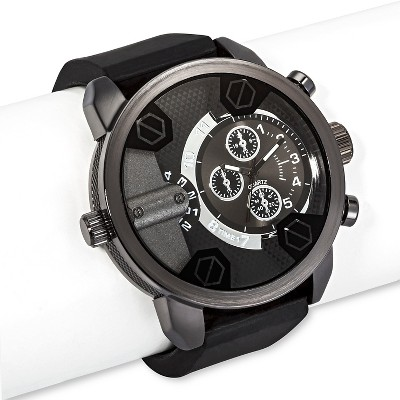 Men's Mossimo™ Silicone Watch with Gunmetal Skeleton Dial-Black