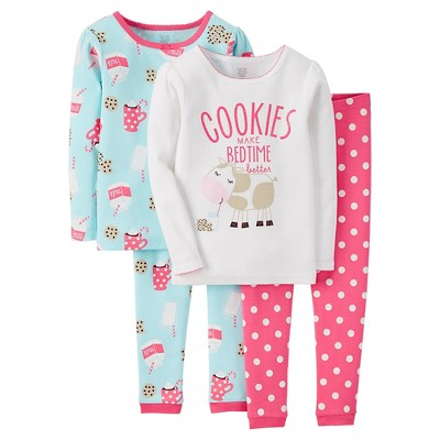 Just One You™ Made by Carter's® Baby Girls' 4-Piece Pajama Set - Angora Pink 9 M
