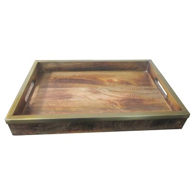 Dark Wood and Brass Tray - Threshold™