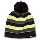 Boys' C9 Champion® Stripe Beanie - Black/Gray/Neon Yellow 4-16