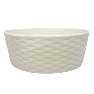 Dog Bowl-Stoneware with Sillicone Foot- Dots/Scallop L - Boots & Barkley™