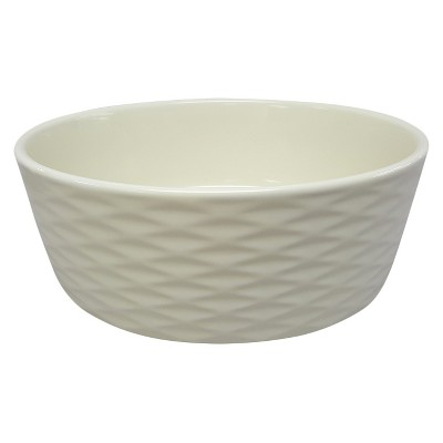 Dog Bowl-Stoneware with Silicone Foot- Dots/Scallop-Medium - Boots & Barkley™