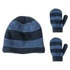 Granule Toddler Boys' Marled Knit Beanie and Mittens Set - Indigo