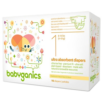 Babyganics Diapers - Size 1  (116 Count)