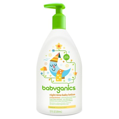 Babyganics Night Time Moisturizing Daily Baby Lotion, Orange Blossom - 12oz Pump Bottle