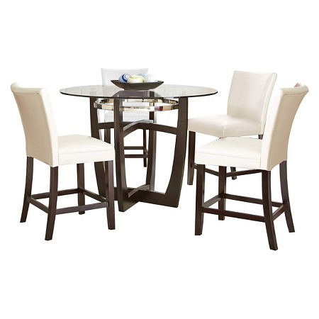 5 piece margo counter height dining table set wood white