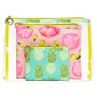 Contents Cosmetic Bag Fruit Punch 3pc Clear Purse Kit Set