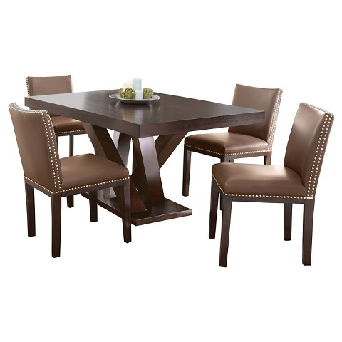 Piece Whitney Dining Table Set Wood Brown Steve Silver Company