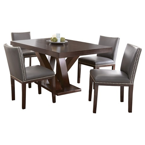 Piece Whitney Dining Table Set Wood Brown Grey Steve Silver