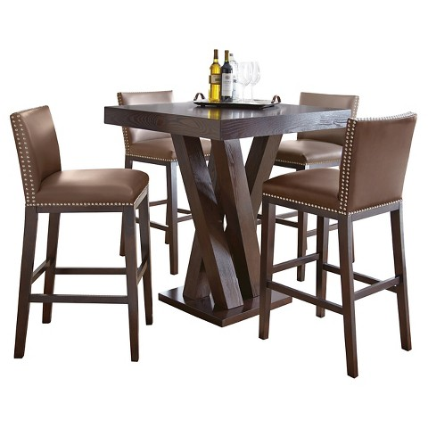 5 Piece Whitney Bar Height Dining Table Set Wood Target