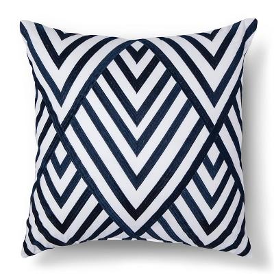 "Elena Embroidered Square Pillow (18""x18"") Navy - Sabrina Soto™"