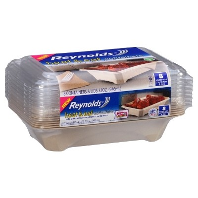 Reynolds Heat & Eat Containers, 32oz, 8ct