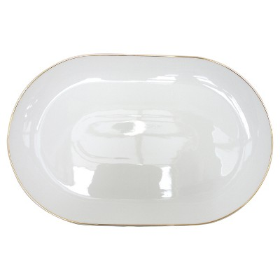 Threshold™ 1 piece Large oval platter with gold rim