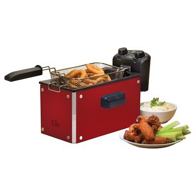 Elite Platinum 3.5 Qt. Immersion Deep Fryer - Red