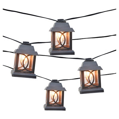 10ct Decorative String Lights-Metal Lantern Cover with Plastic Insert - Smith & Hawken™
