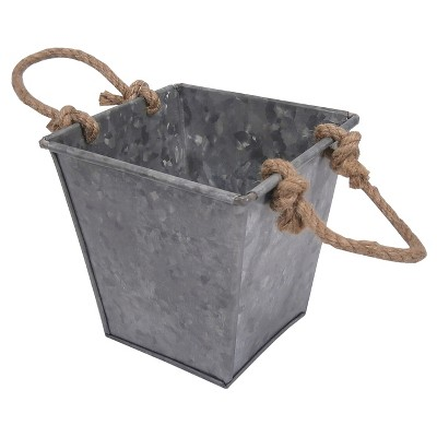 Threshold™ Square Galvanized Tabletop Planter with Jut Handles
