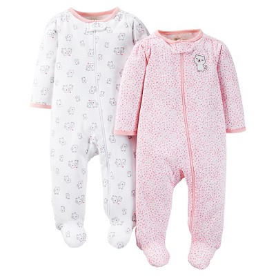 Just One You™ Made by Carter's®  Baby Girls' Kitty 2-Pack Footed Sleeper - Pink Preemie