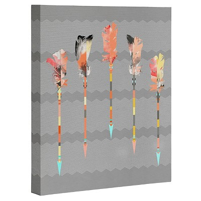 DENY Designs Iveta Abolina Gray Pastel Feathers Art Canvas