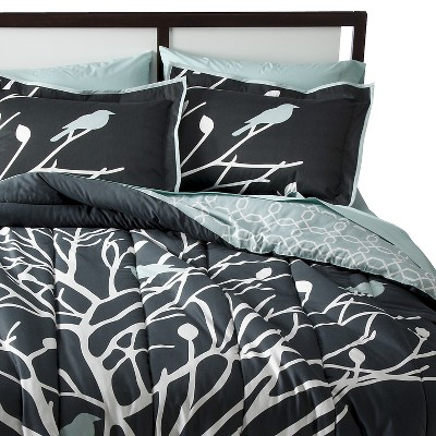 Birds and Branches Comforter Set (King) Grey