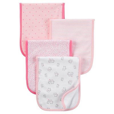Just One You™ Made by Carter's®  Baby Girls' 4-Pack Burp Cloth Set - Pink