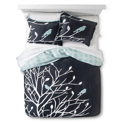 Birds and Branches Duvet Cover Set (Full/Queen) Grey