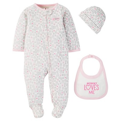 Just One You™ Made by Carter's® Baby Girls' 3-Piece Footed Sleeper - Pink NB