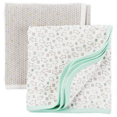 Just One You™ Made by Carter's® Baby 2-Pack Swaddle Blanket - Green