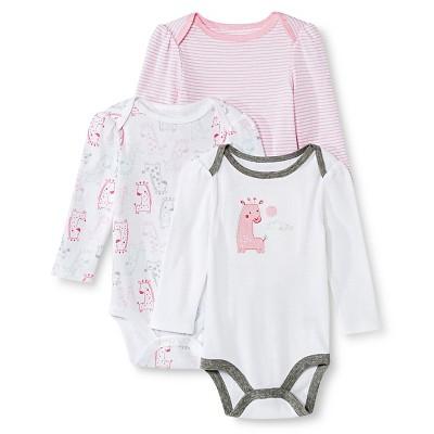 Circo™ Baby Girls' 3-Pack Giraffe Bodysuit - Pink 3-6 M