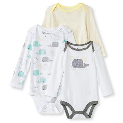 Circo™ Baby Boys' 3-Pack Whale Bodysuit - White 0-3 M