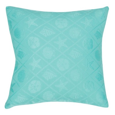 Jaipur Veranda Shell Trellis Blue Decorative Pillow