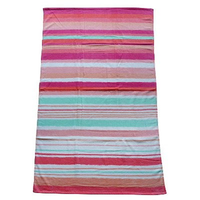 Evergreen Basics Hand Drawn Stripes  Beach Towel - Coral