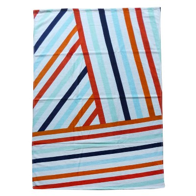 Evergreen Basics Angled Stripes Beach Towel - Multi-Colored