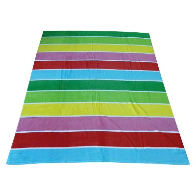 Evergreen Lux Rugby Stripe Beach Towel for Two - Multi-Colored