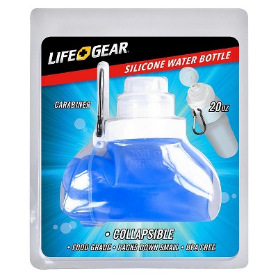 Life Gear Collapsible Camp 20oz Water Bottle with Carabiner - Colors May Vary