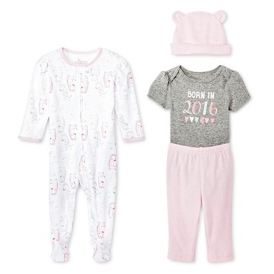 Circo™ Baby Girls' 4-Piece Set - Pink/Gray 3-6 M